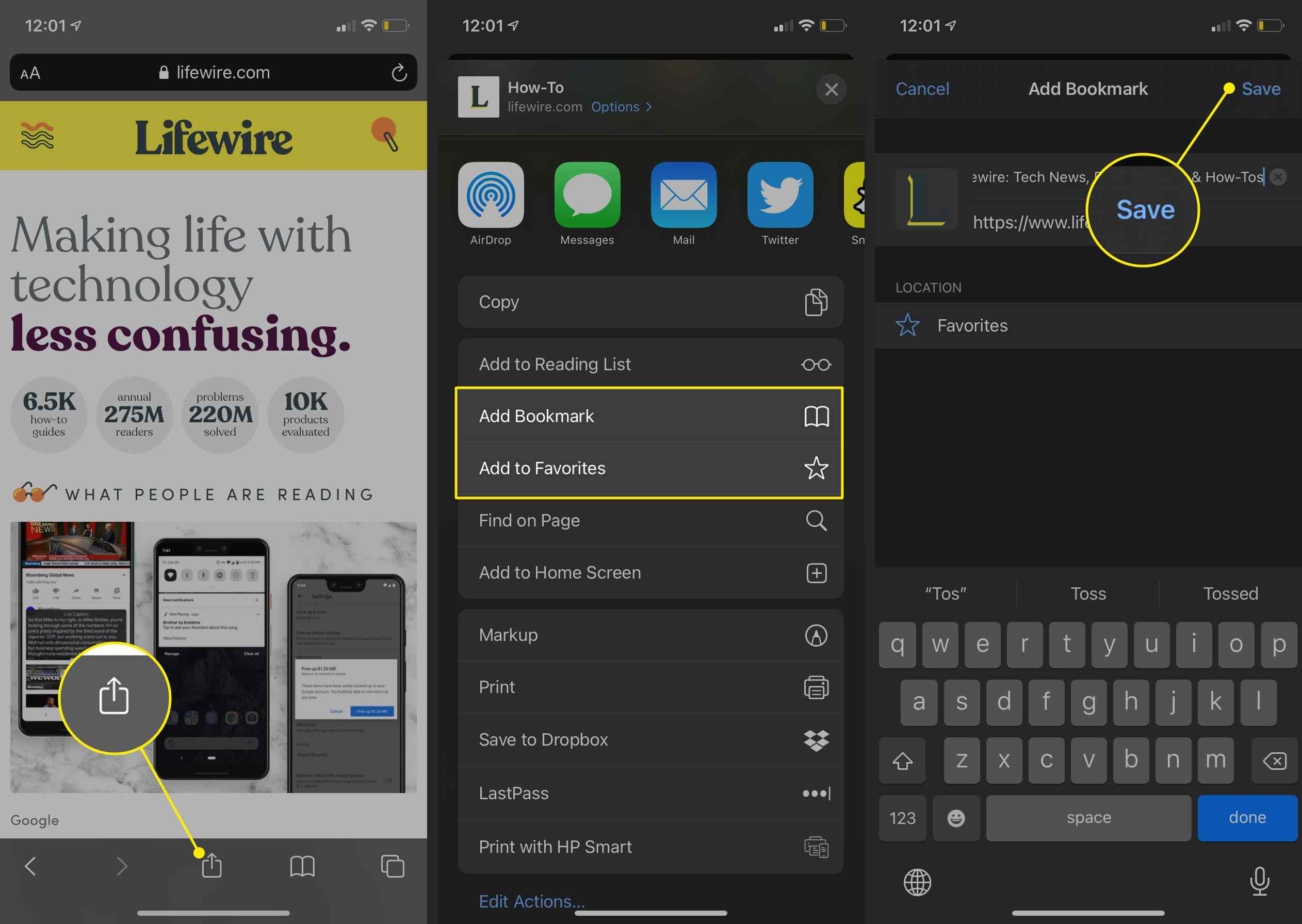 How to Add Safari Bookmarks on an iPhone or iPod touch