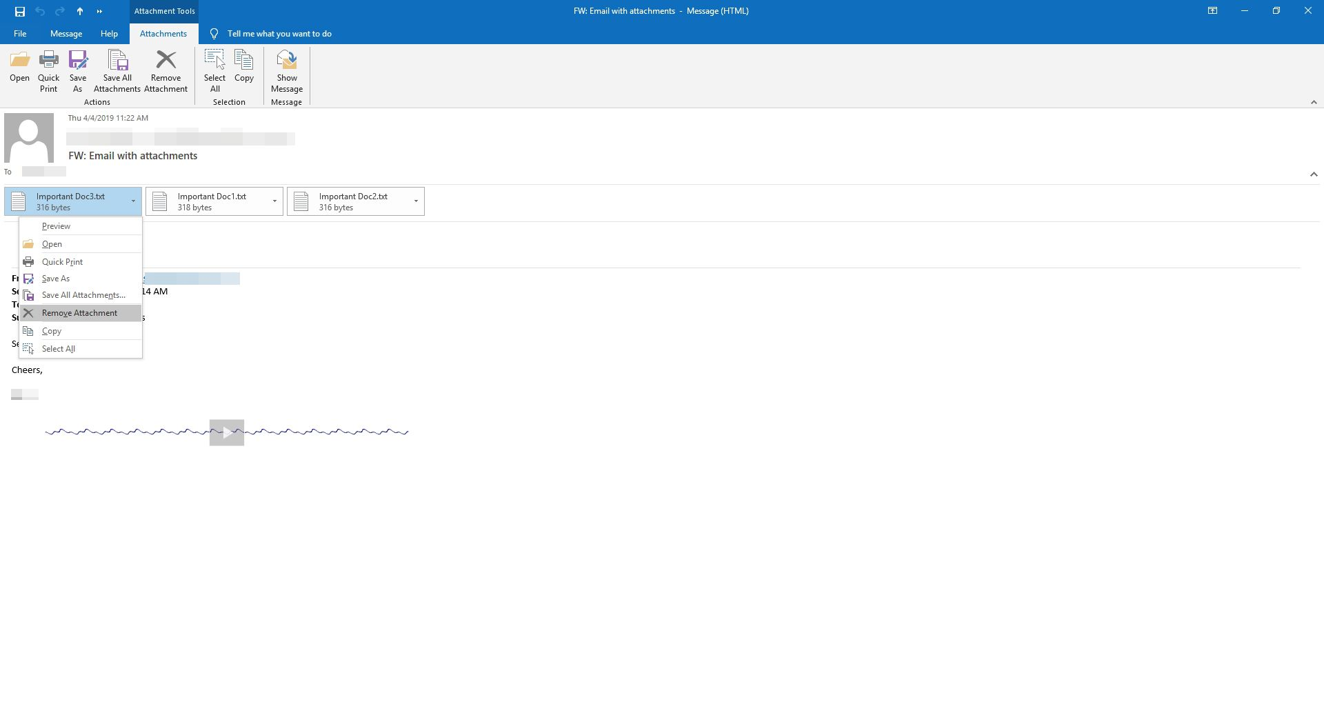 How to Remove Attachments From Messages in Outlook