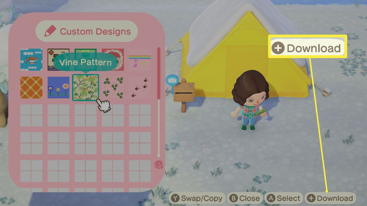 Animal Crossing: New Horizons with Custom Designs open and Download highlighted