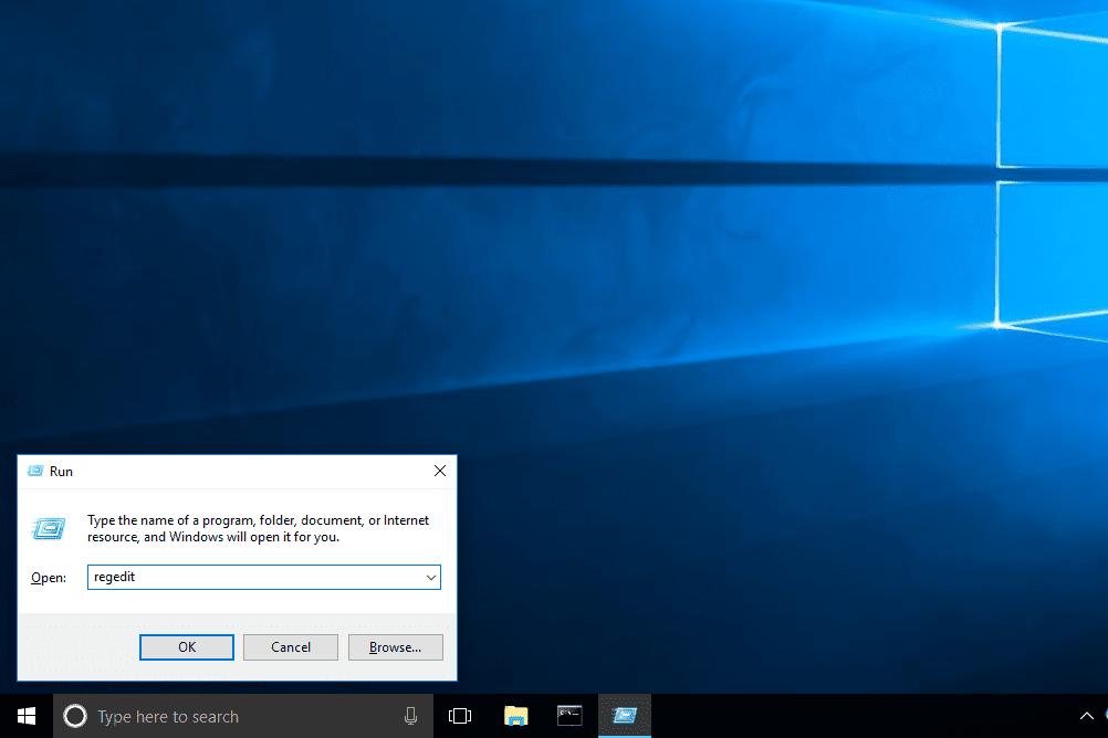 regedit command typed in the Windows 10 Run box