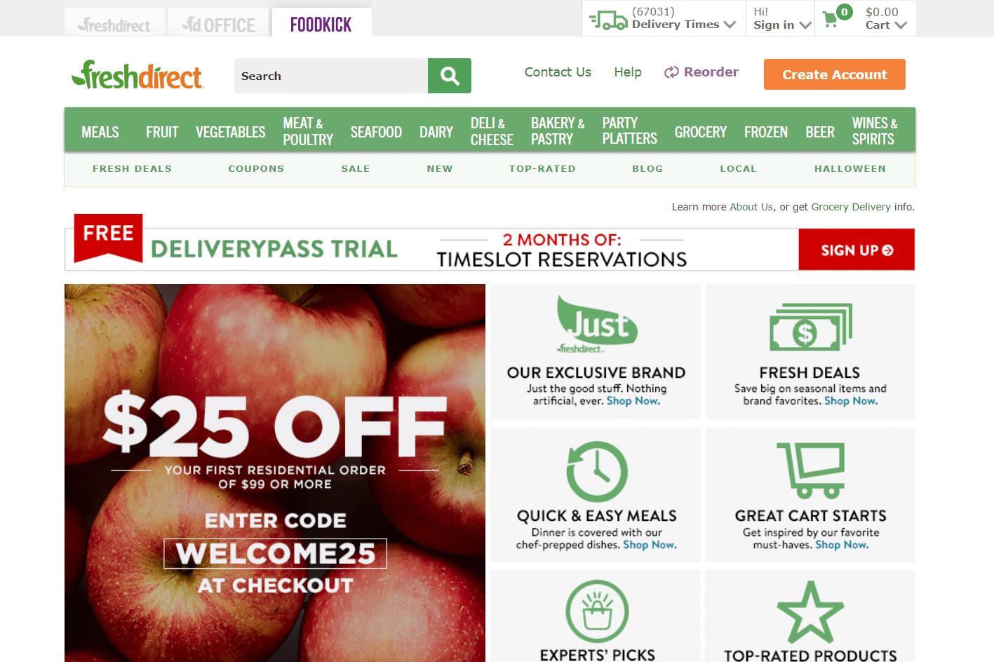 FreshDirect website