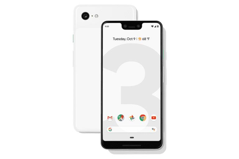 Two Pixel 3 smartphones