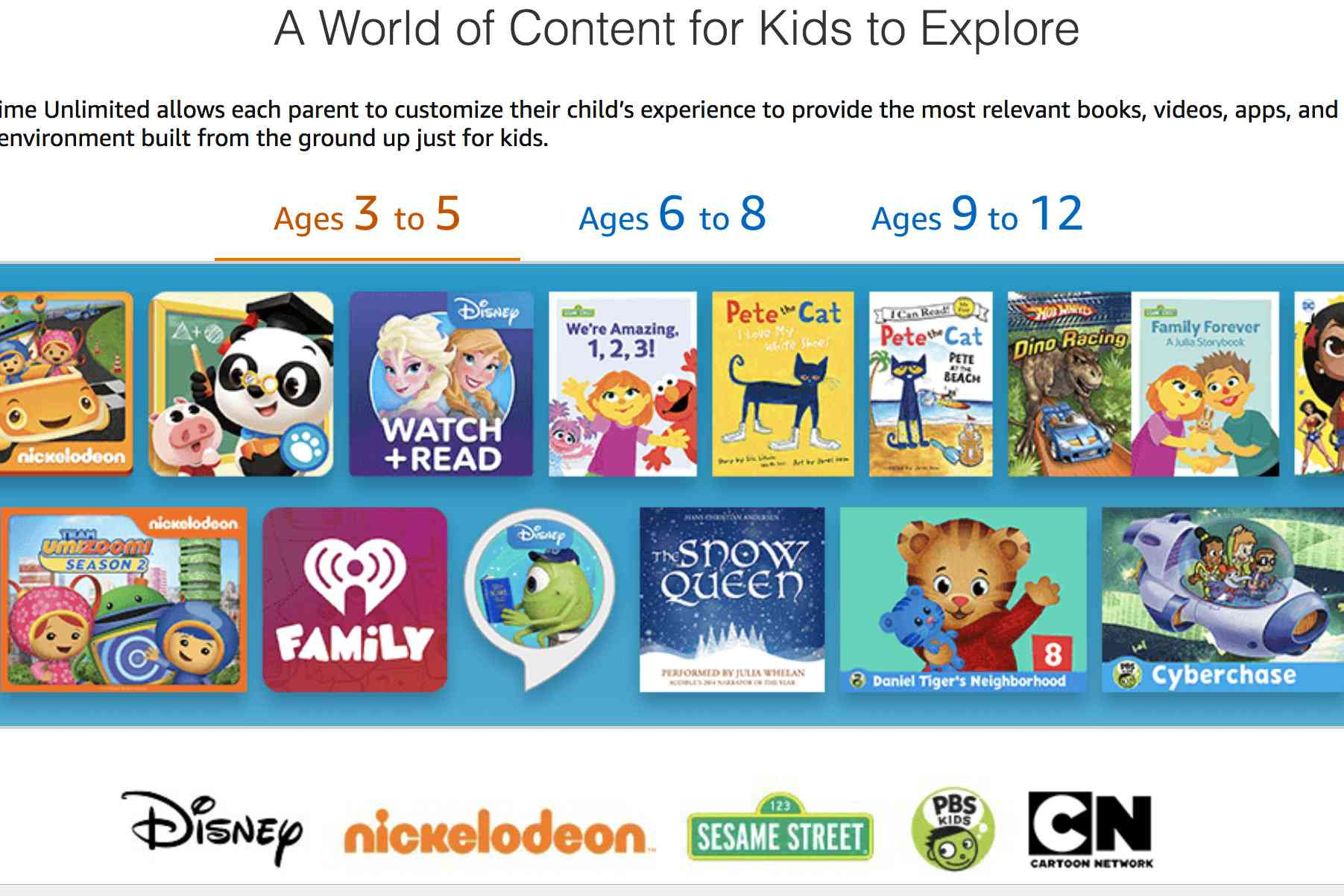 Screenshot of Amazon FreeTime Unlimited, showing content for 3-5 year-olds