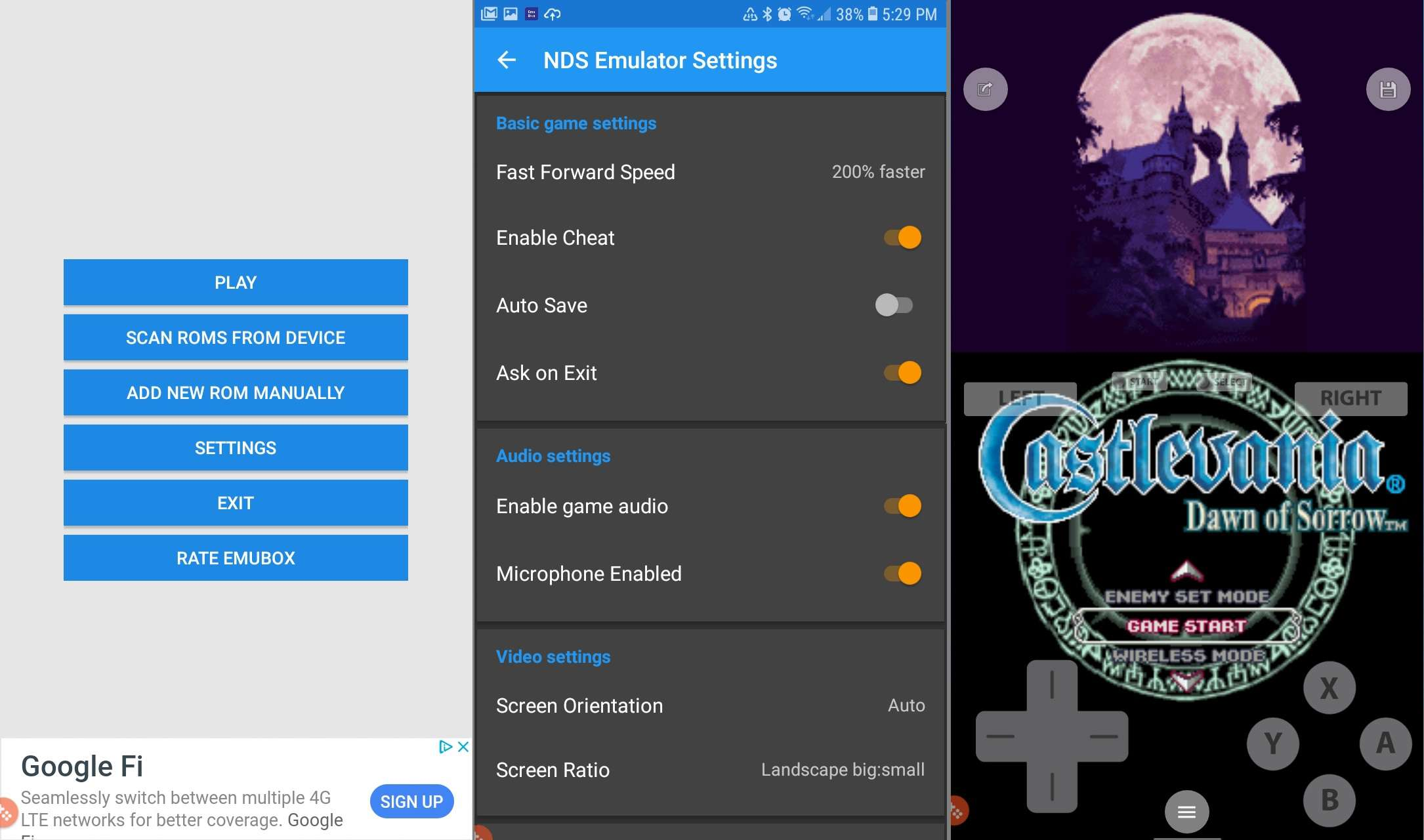 Castlevania: Dawn of Sorrow running on NDS4Droid for Android