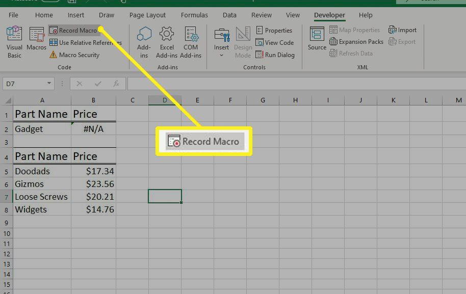 Record Macro button in Excel
