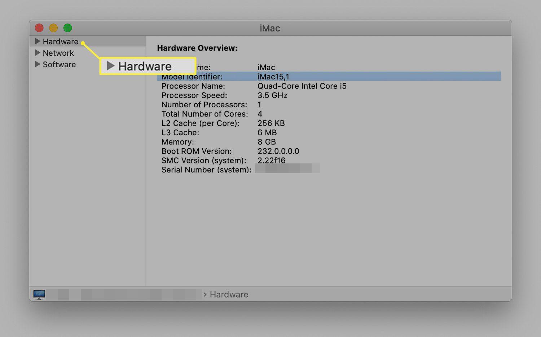 iMac Hardware listing