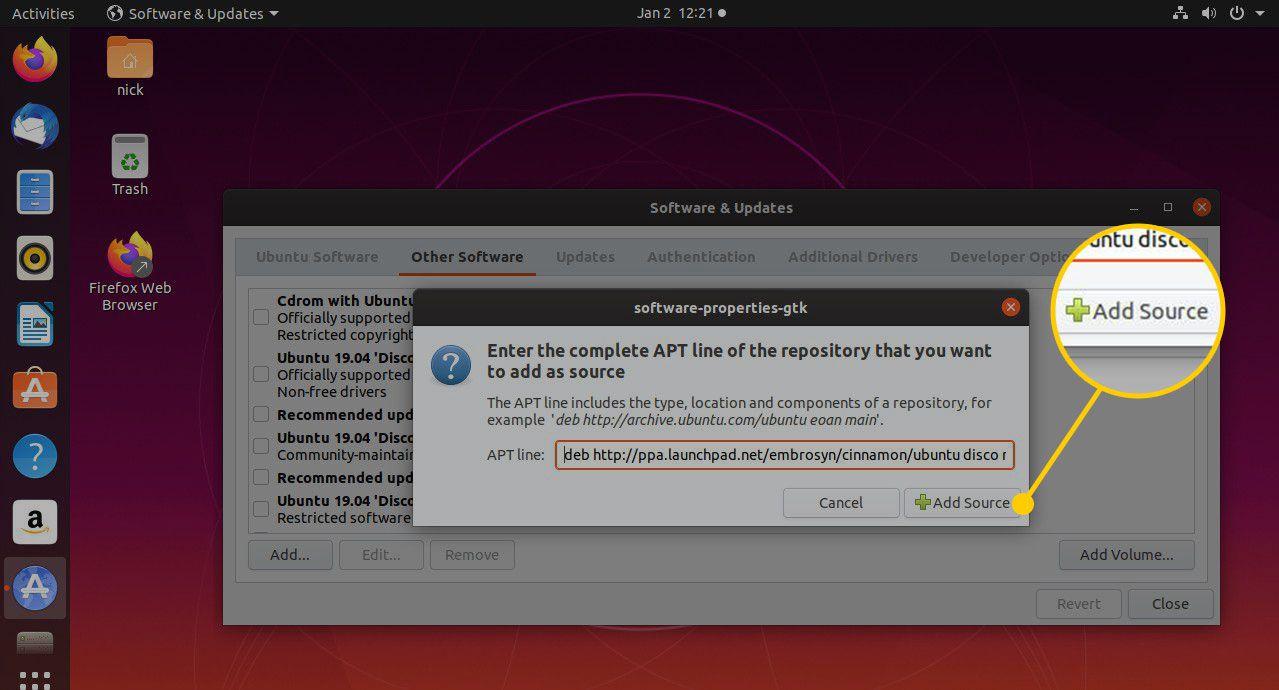 Add Source button in Ubuntu