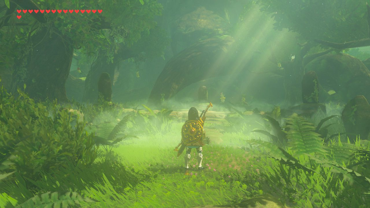 Finding the Master Sword memory in The Legend of Zelda: Breath of the Wild.