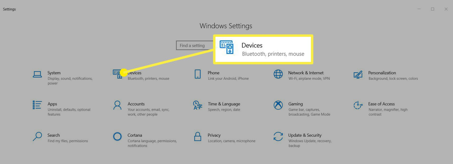 Windows Setting window showing Devices option.