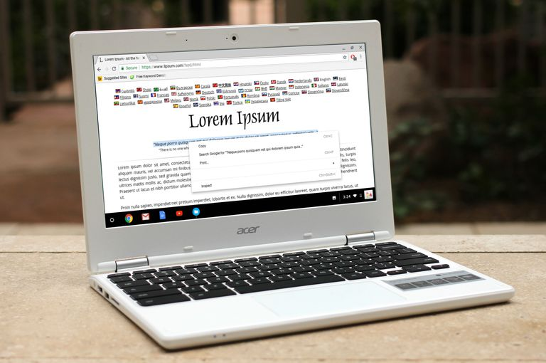 Acer Chromebook with Lorem Ipsum on screen