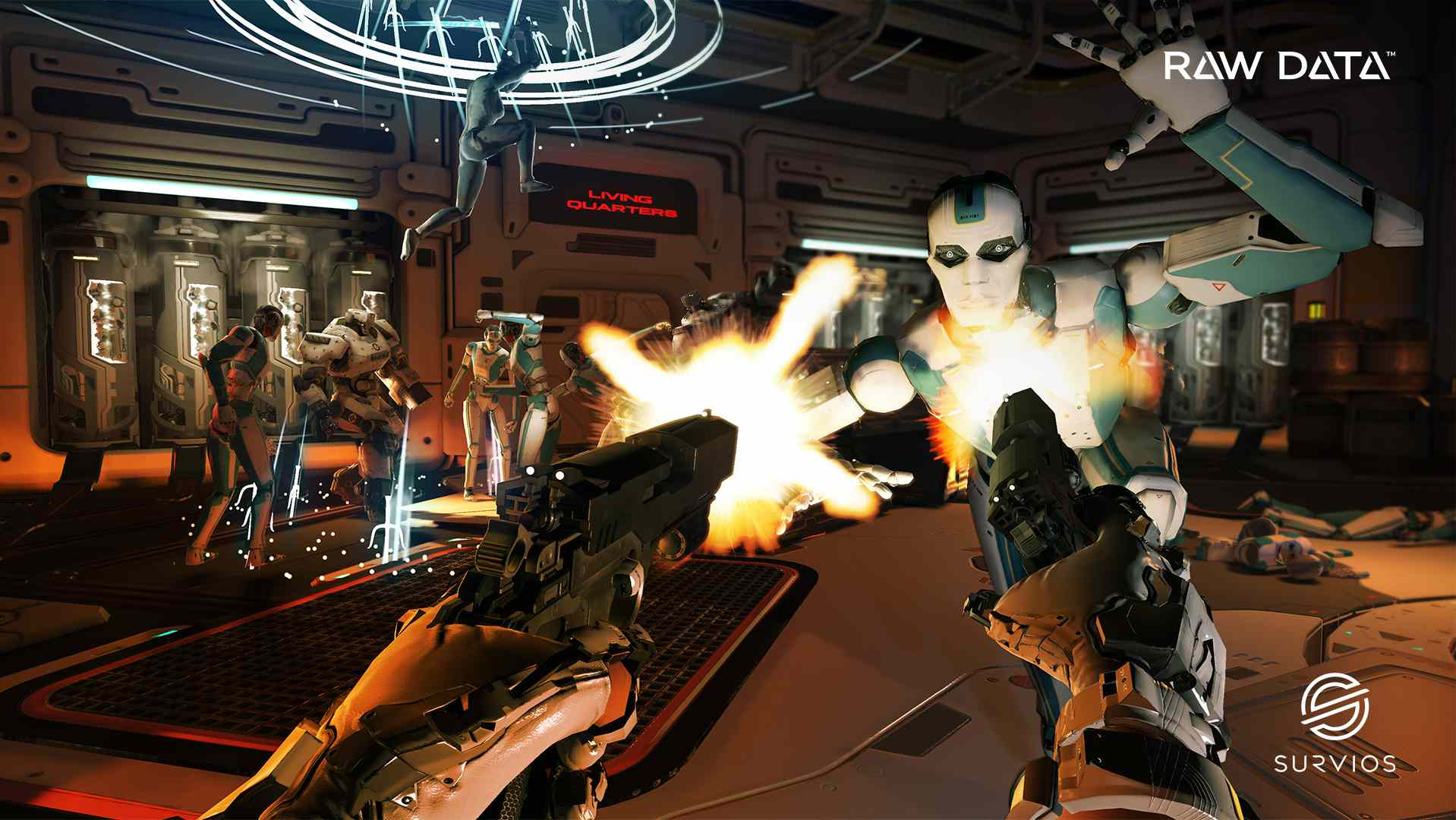 A blue and white robot attacks, while two pistols fire at it.