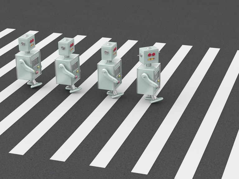 3D Rendering, Robots crossing zebra crossing