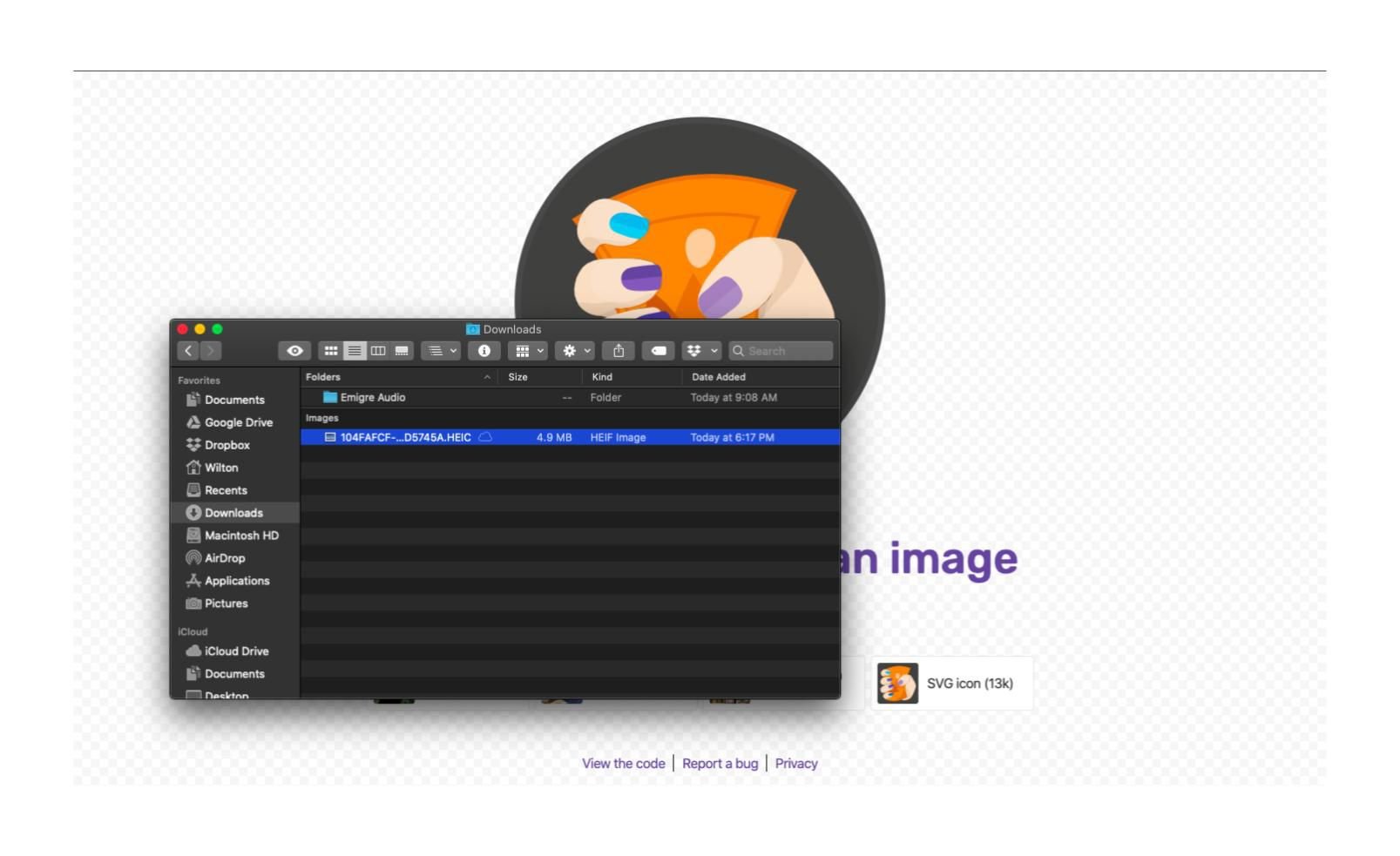 Squoosh website with the macOS file system overlaid.