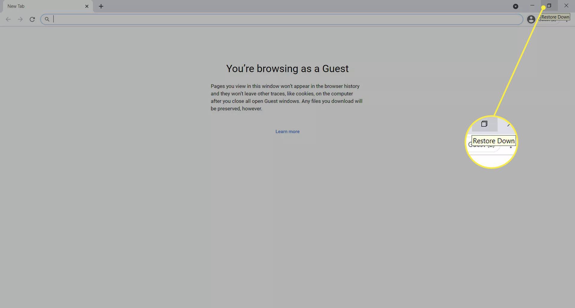 Restore Down button in Chrome window