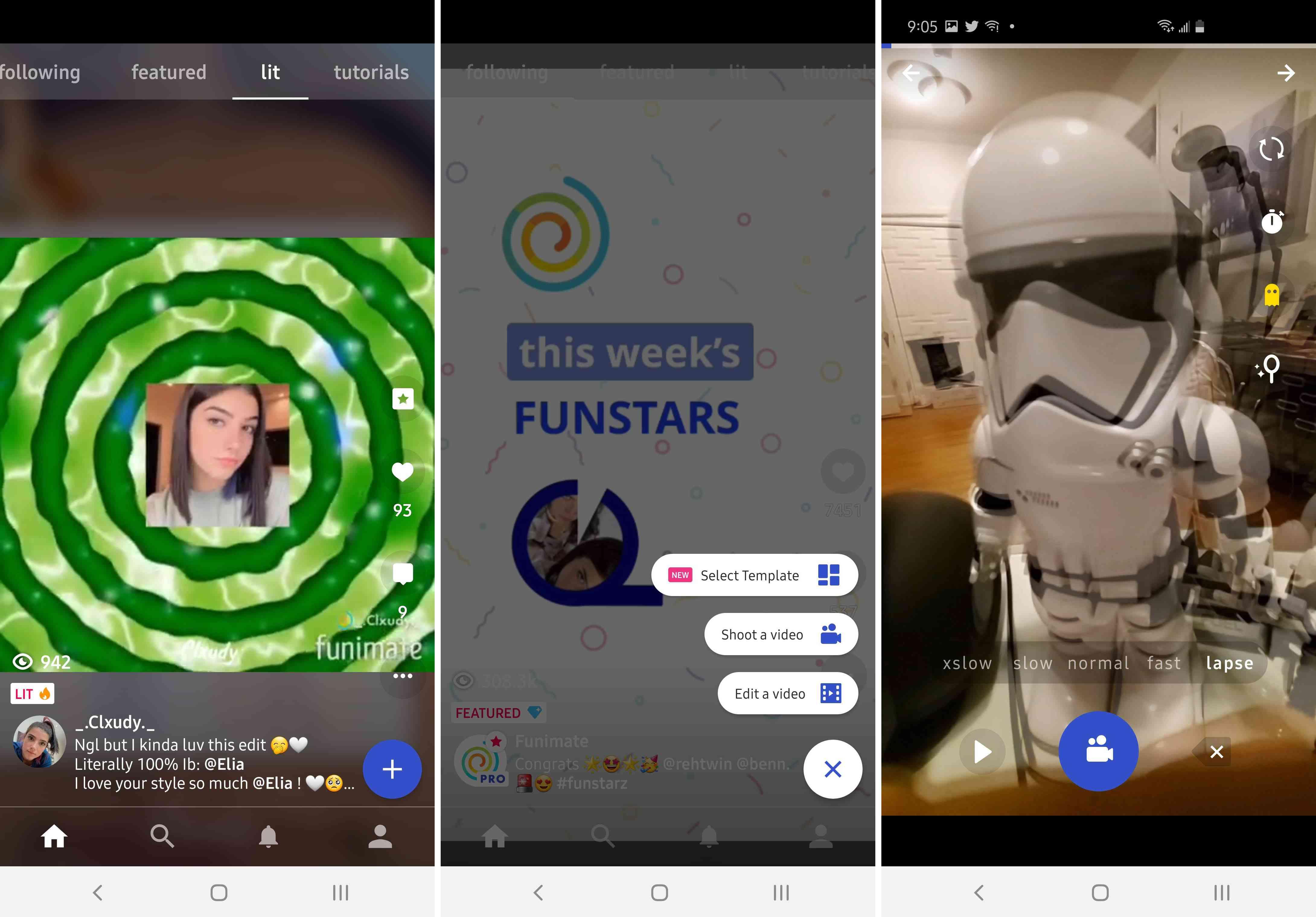 Three views of the Funimate app