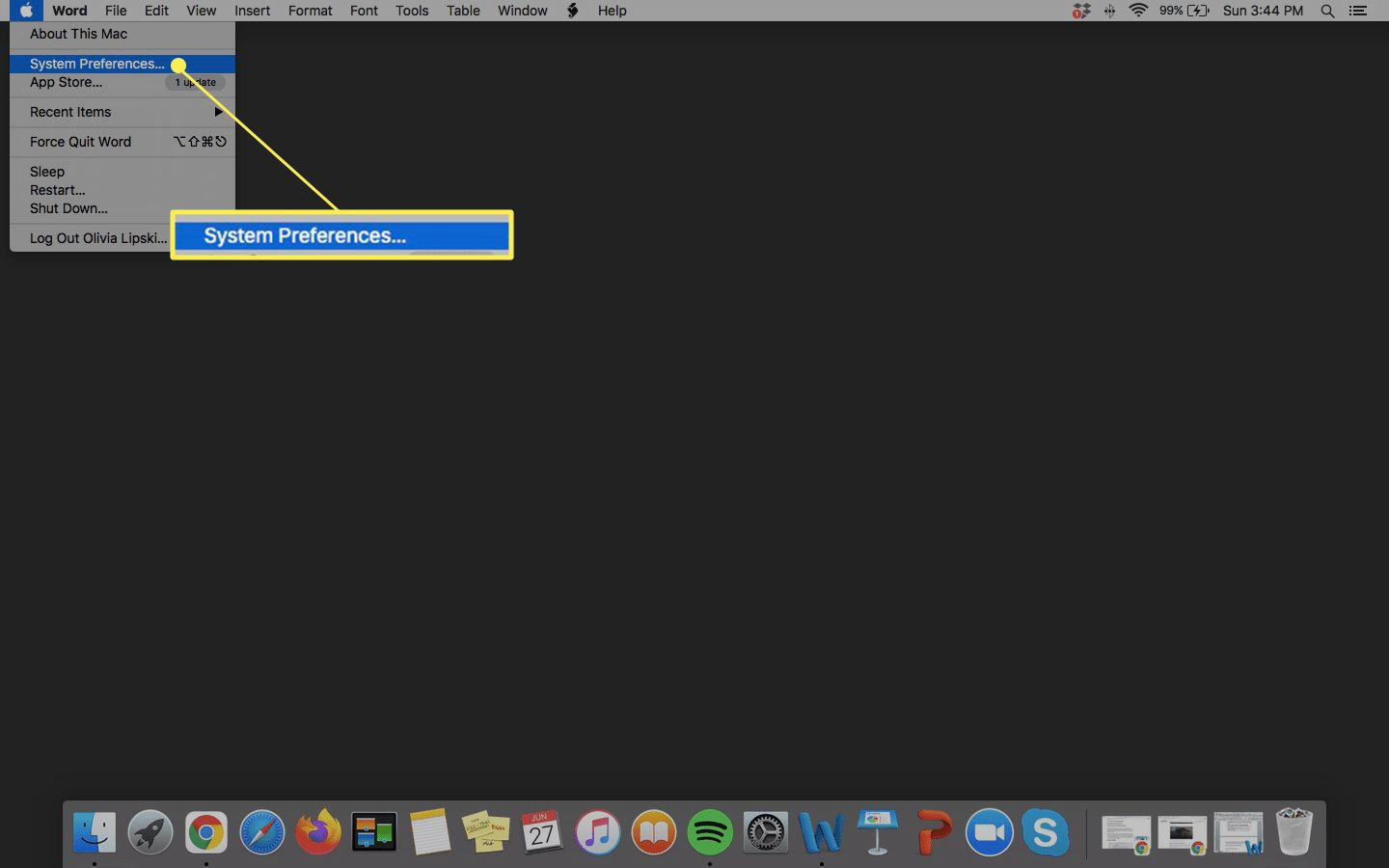 Apple menu with System Preferences highllighted