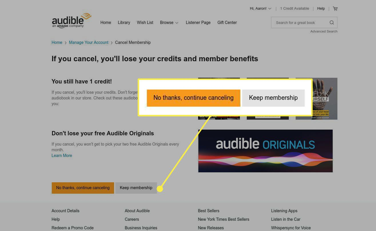 Cancellation options on Audible