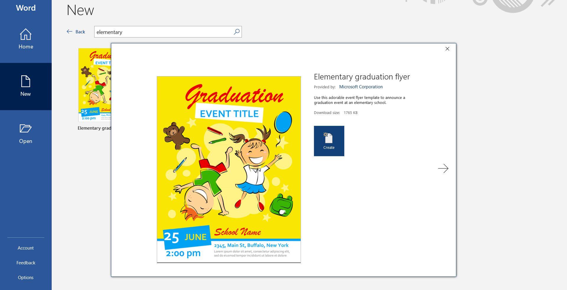 Microsoft Word flyer template for elementary school graduation