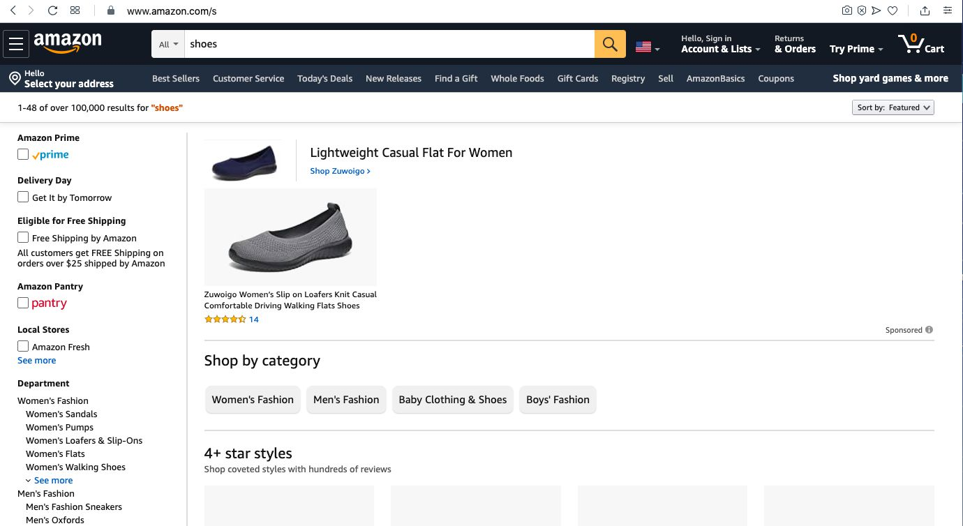 You'll arrive at an Amazon shoe search