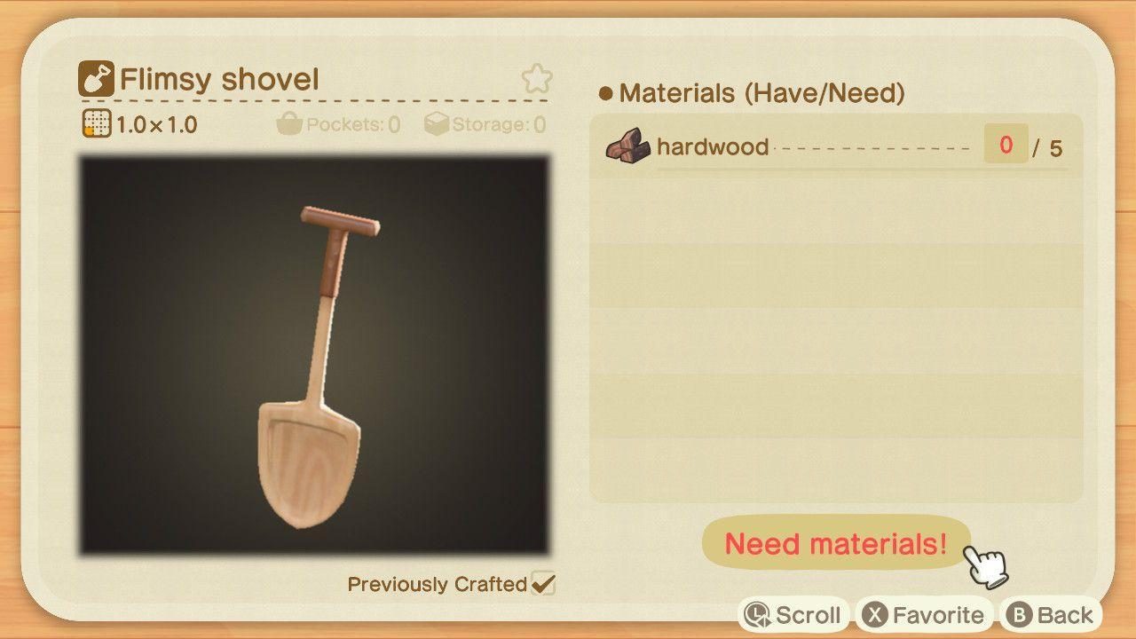 Animal Crossing crafting recipe for a Flimsy Shovel