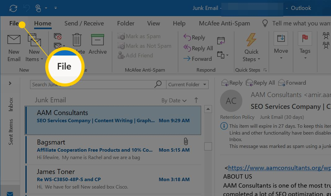 File button in Outlook
