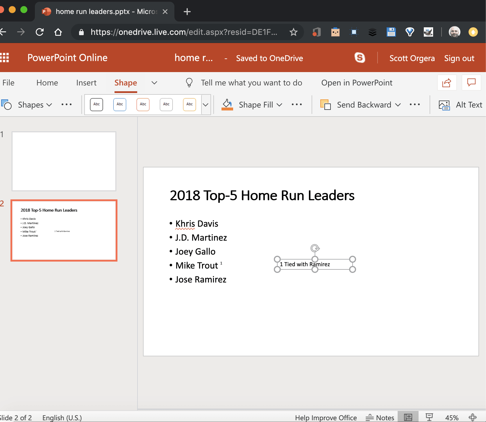 screenshot of a footnote in progress in PowerPoint Online