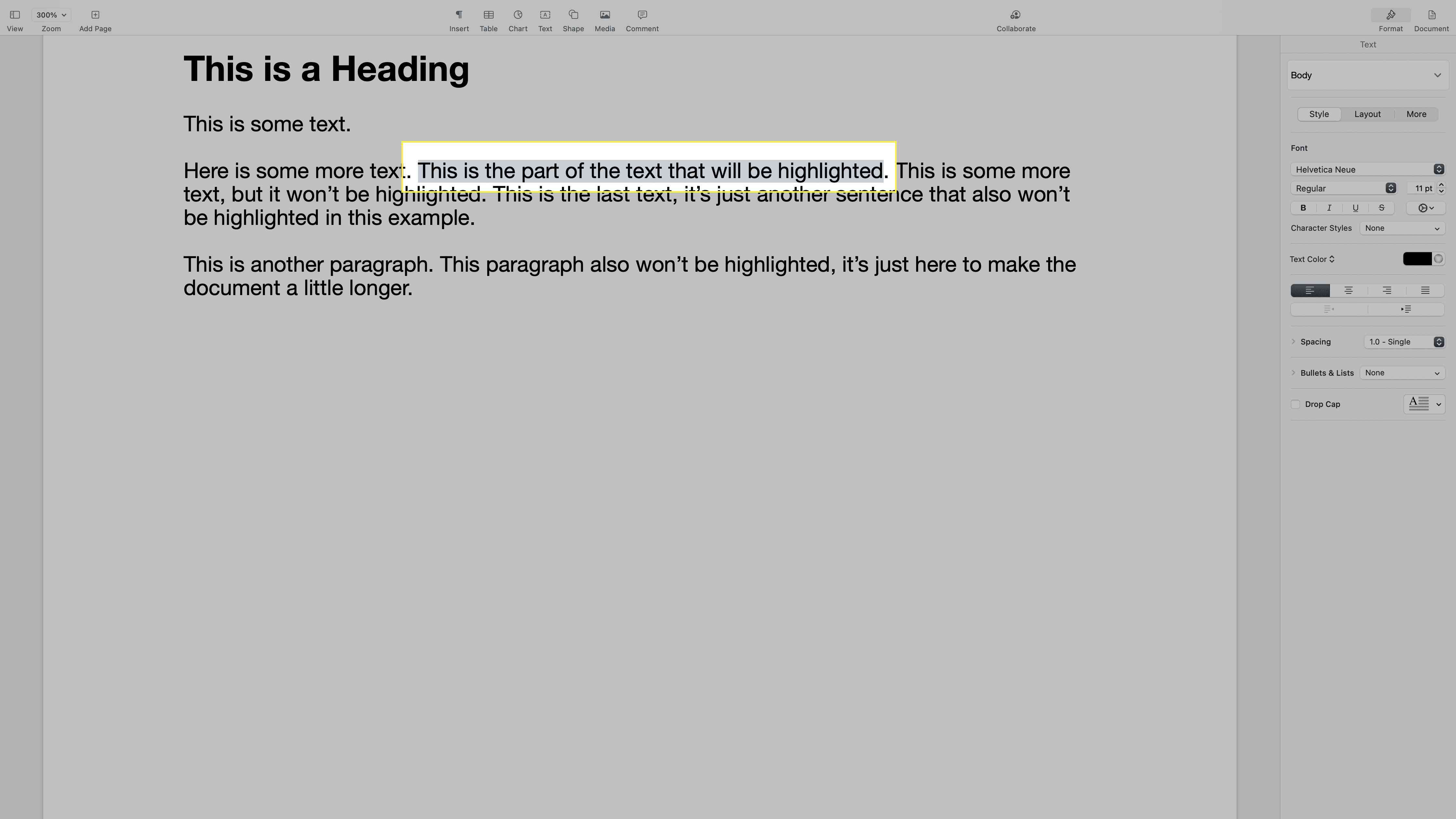 Text selected in a document in Pages on a Mac.