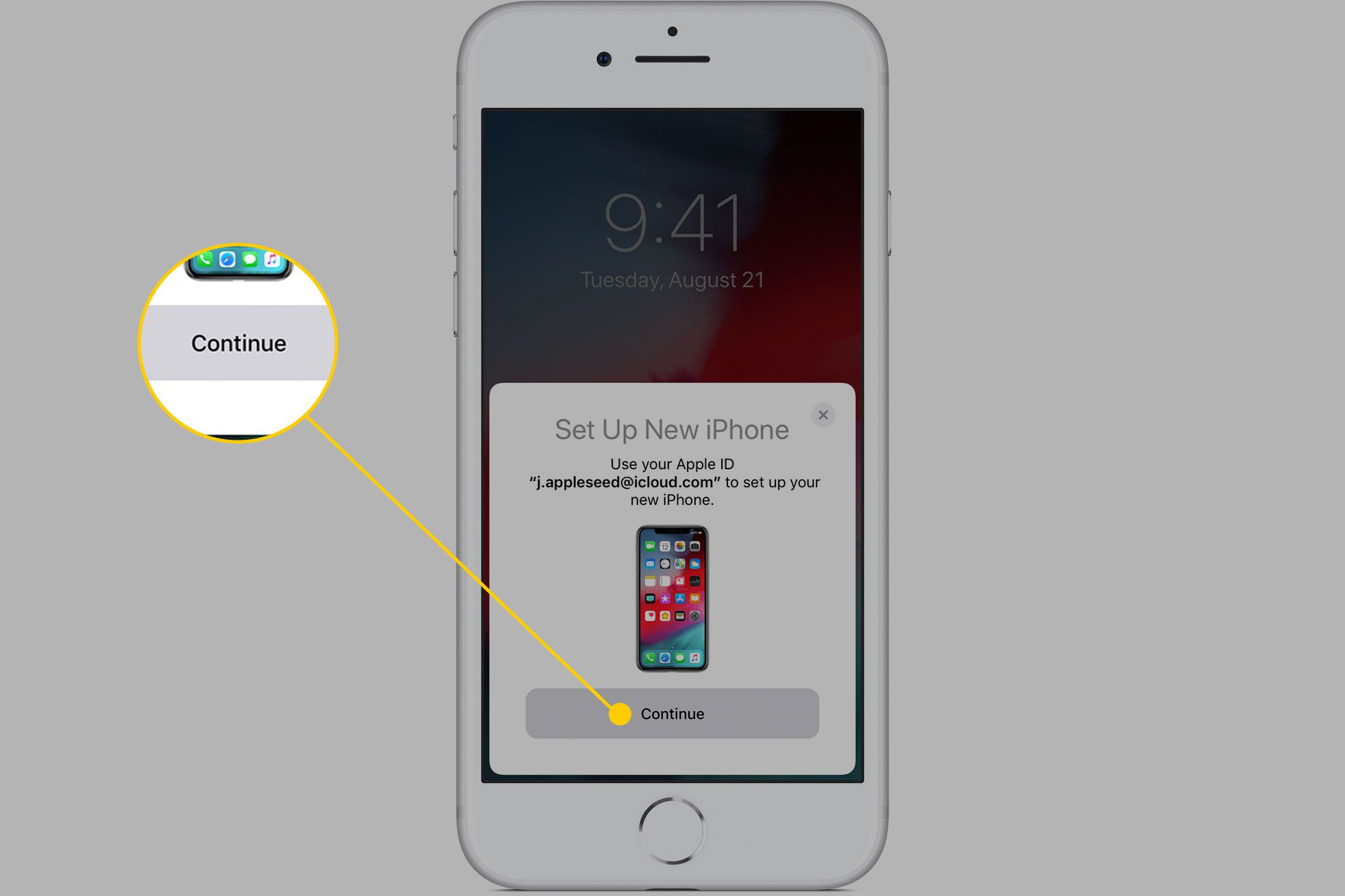 Set Up New iPhone screen with the Continue button highlighted