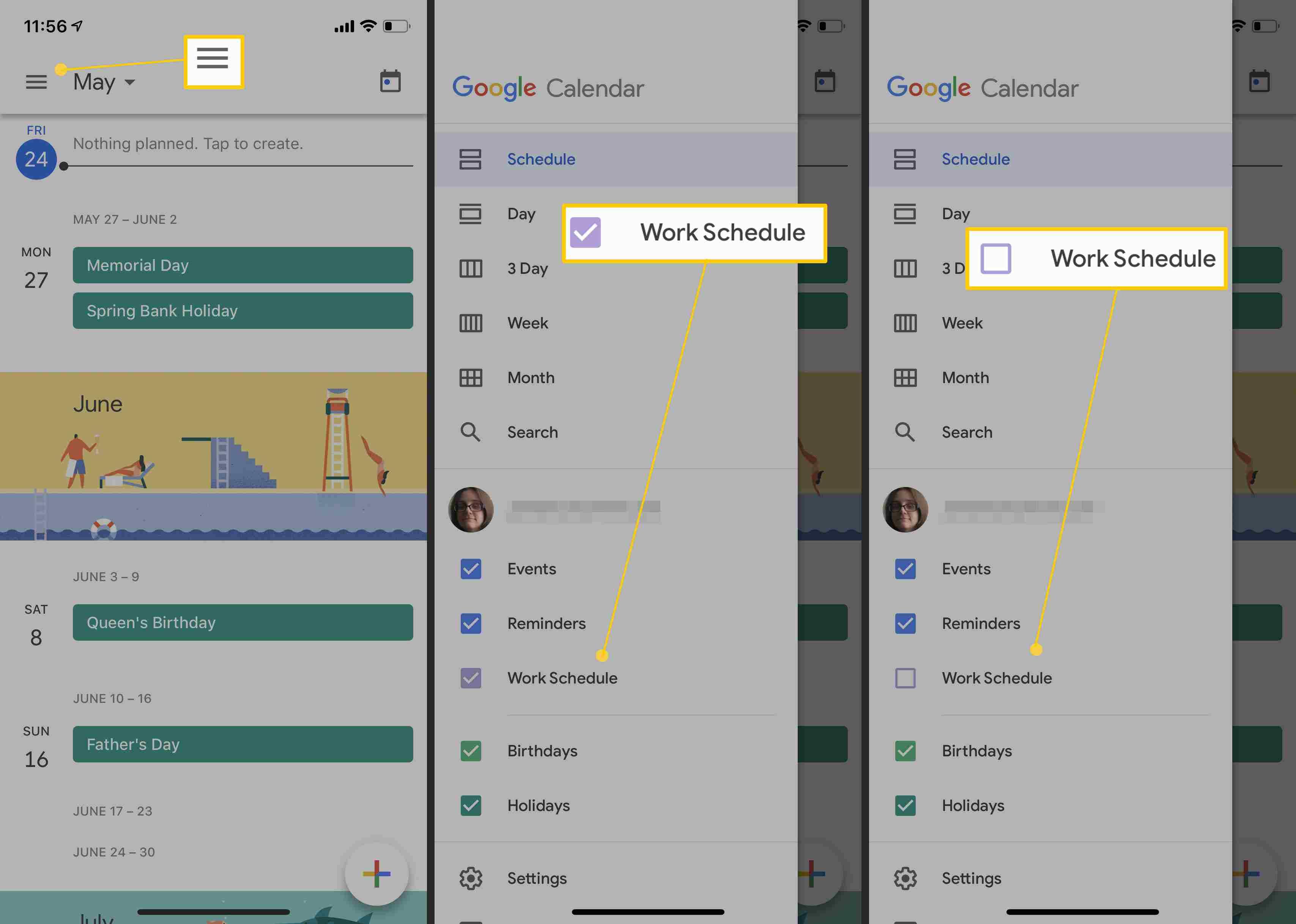 Google Calendar App and how to hide calendars