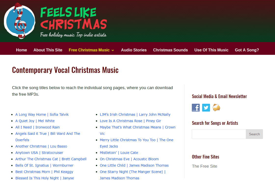 Free Christmas Music Downloads at Feels Like Christmas