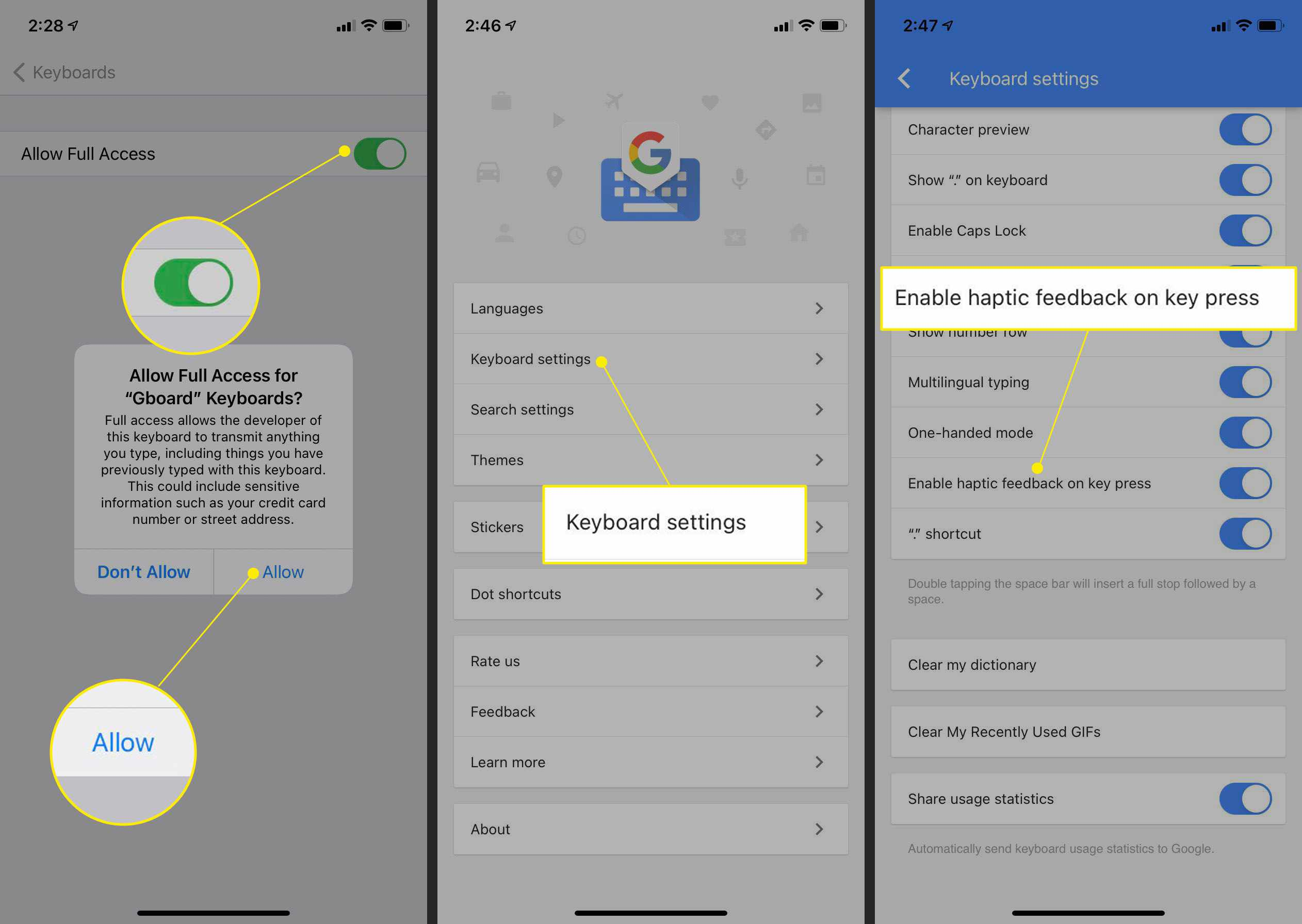 Gboard settings with Allow, Keyboard settings, and