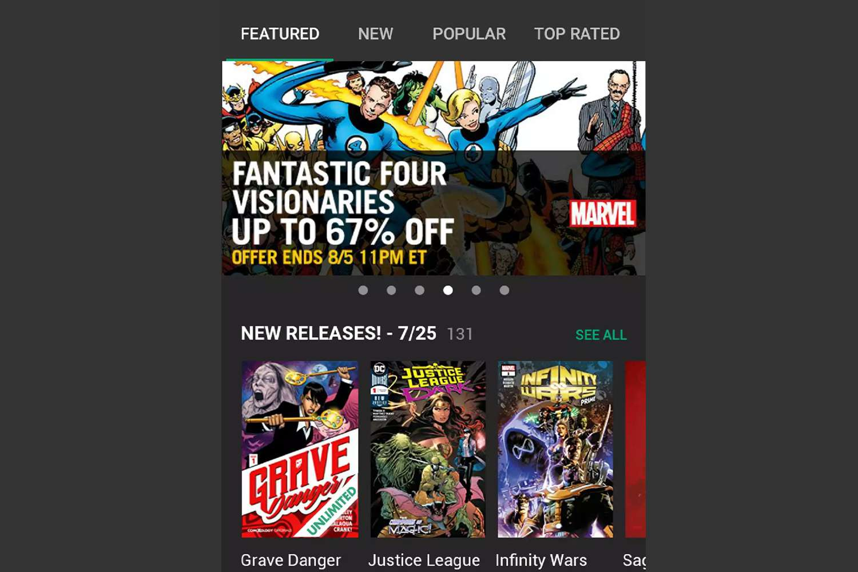 The main screen for Comixology's Comics app