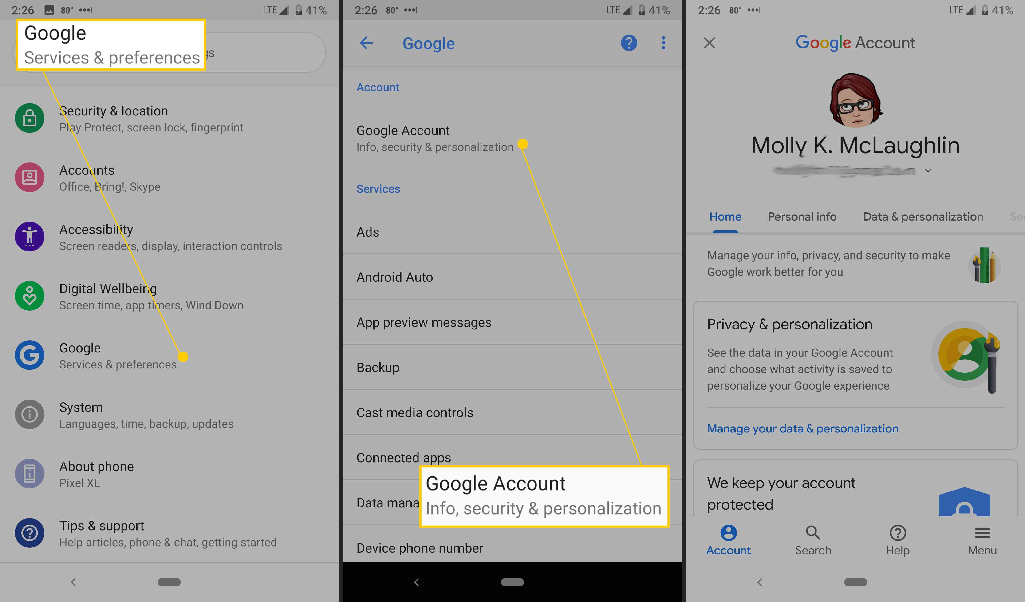 Android's Google account settings.