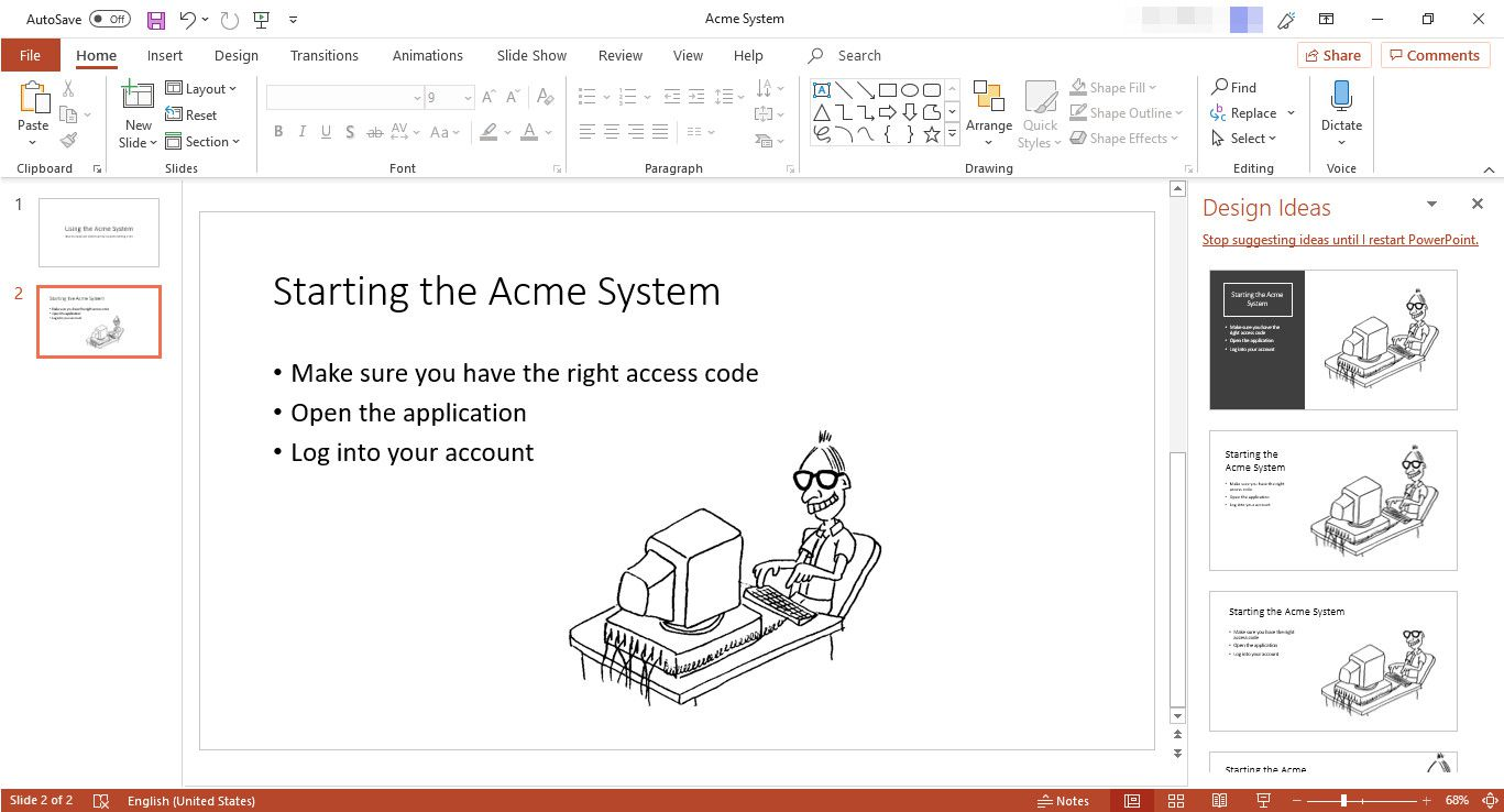 MS PowerPoint slide using Title and Content layout