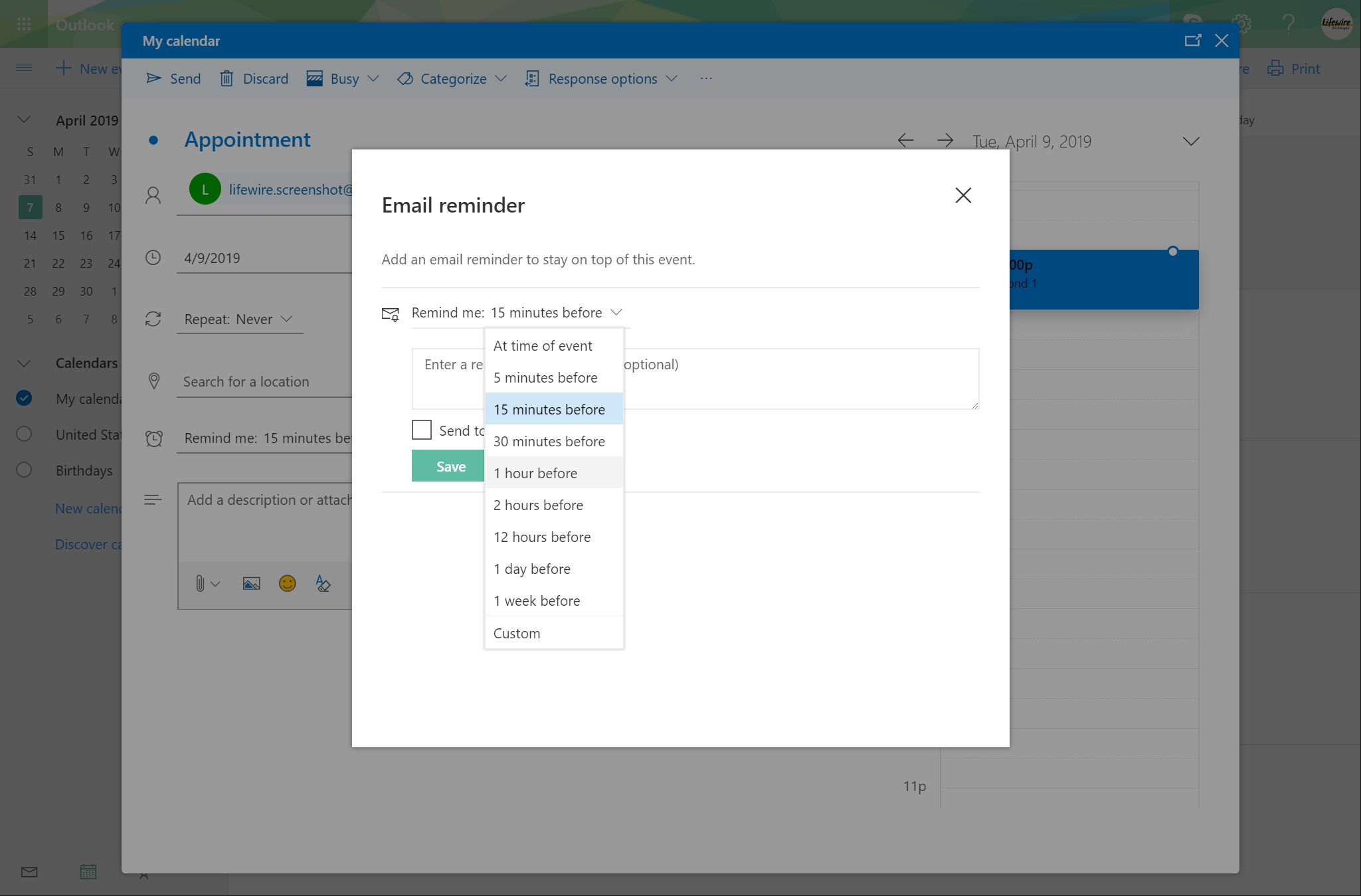 Outlook.com Email reminder window with Remind me dropdown open