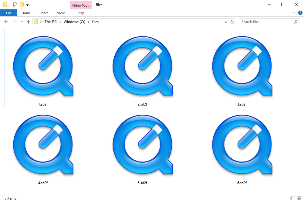 SD2F files in Windows 10 that open with QuickTime Player