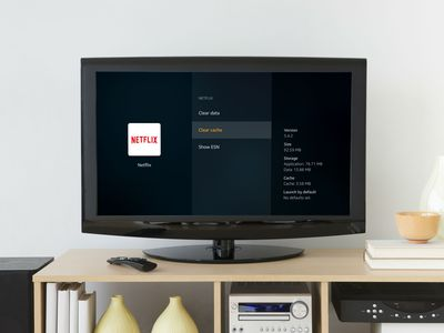 The Fire TV Stick clear cache menu displayed on a television
