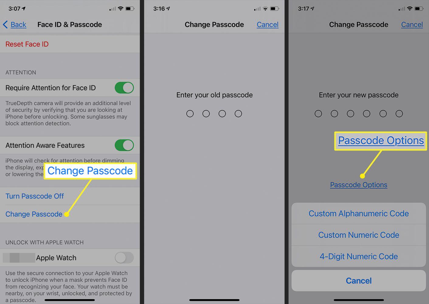 Change passcode fields on iPhone