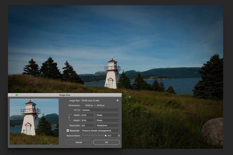 The Photoshop Image Size dialog box is shown over an image of a lighthouse.