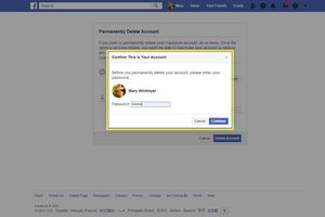 Confirming Facebook deletion with a password using a web browser.