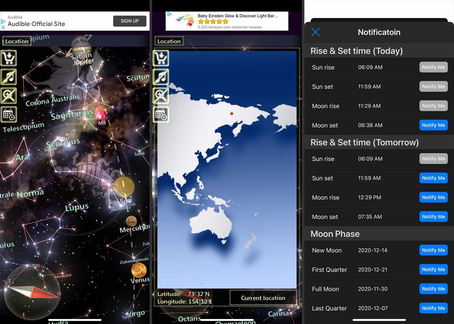 Screenshots from the Star Tracker Lite app.