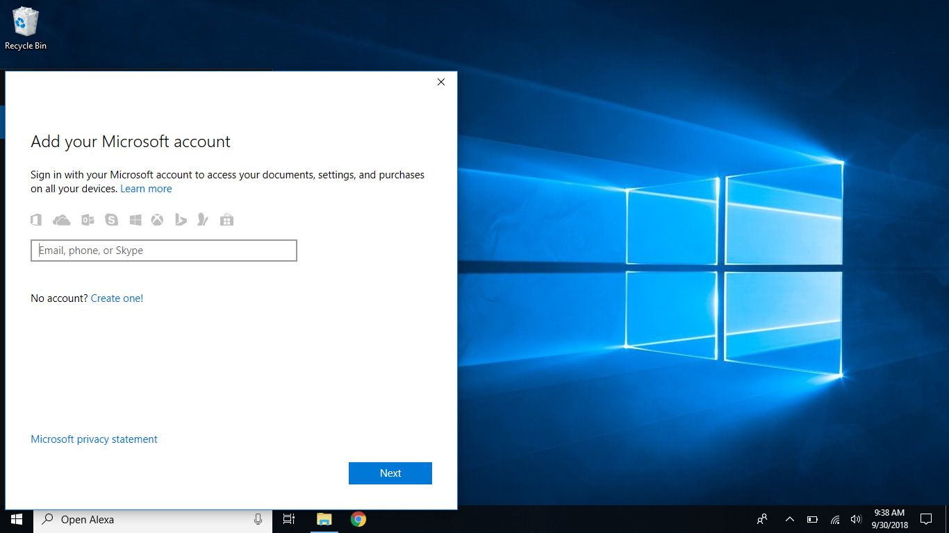 Microsoft account sign in to Cortana on Windows