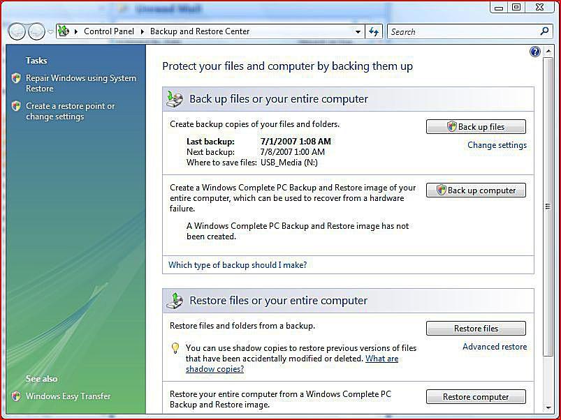 Windows Vista Backup Center