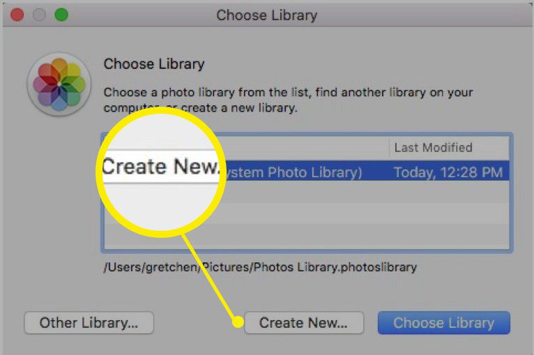 Screenshot of creating new library in Photos