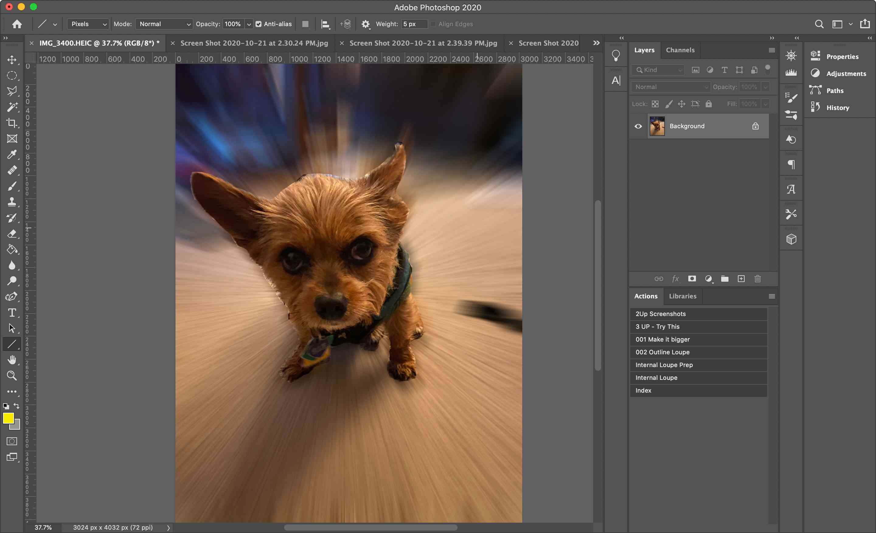 An image in Photoshop with a Radial Blur applied to it
