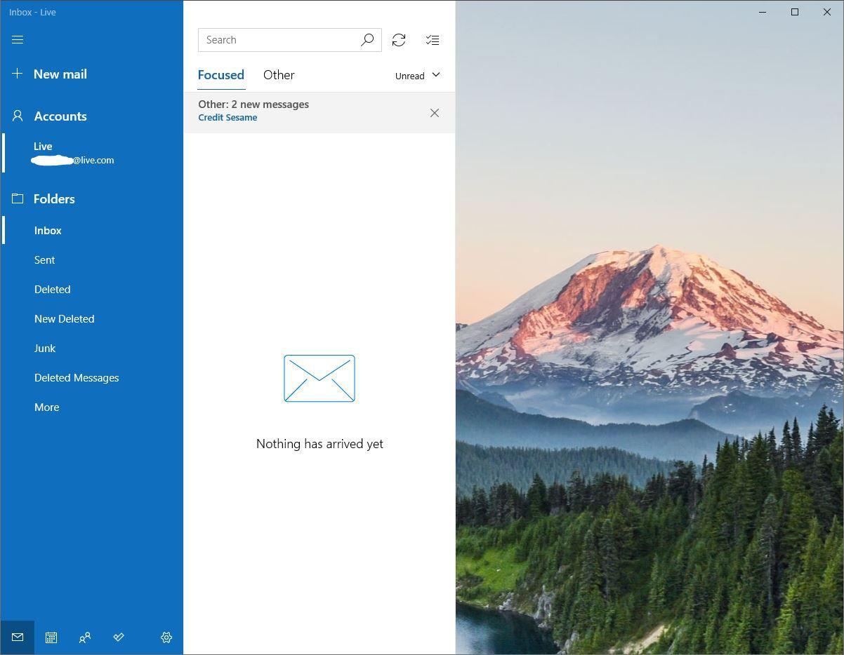 Screenshot of Windows Mail