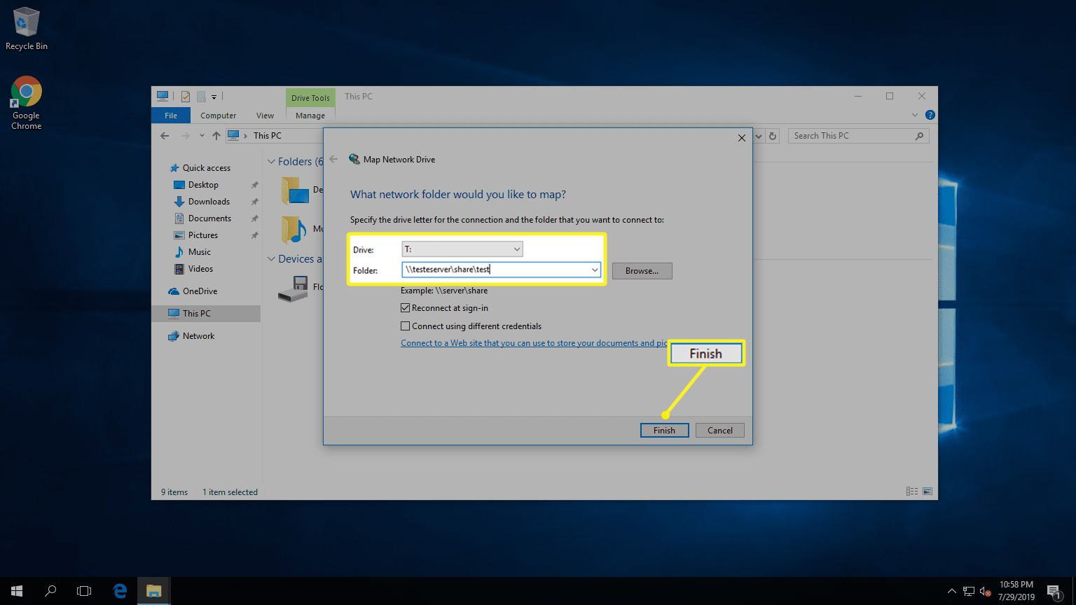 Map a network drive drive and folder fields