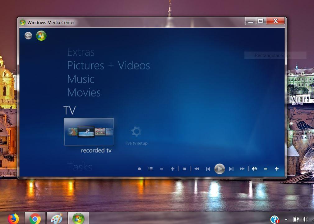 Screenshot of Windows Media Center in Windows 7