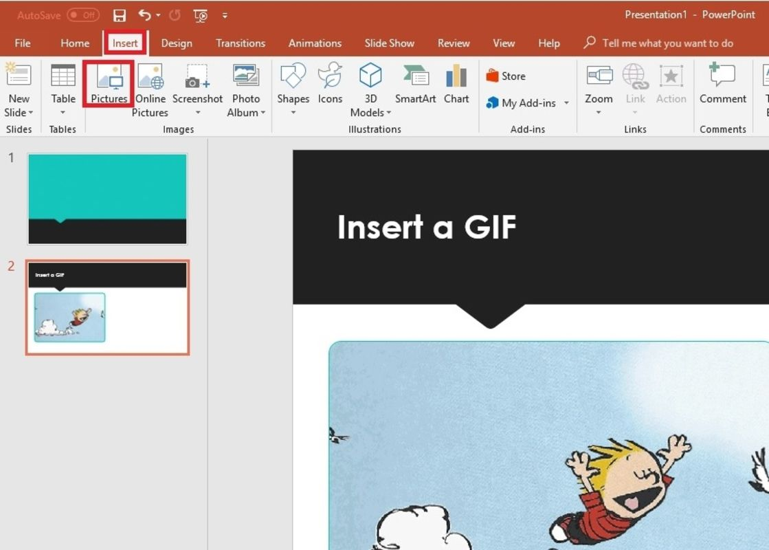 Insert a gif in powerpoint from file