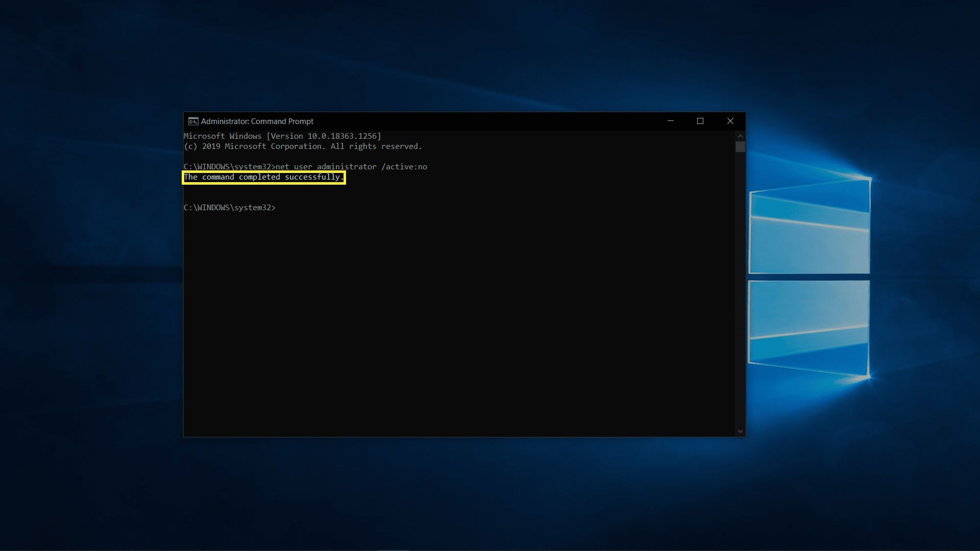 Successfully disabled admin account in Windows 10.
